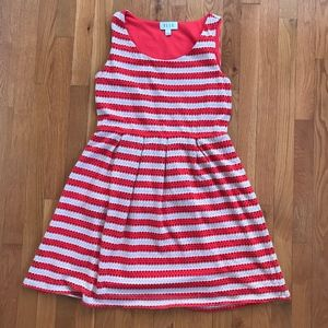 Elle Orange/Cream Striped Eyelet Dress - Sz. 12/14